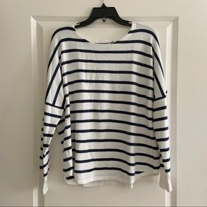 French Connection White Grey Striped Shirt Large